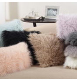 """black faux mongolian fur pillow 12x20"""" 706.1220"""