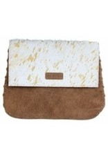"""Mable white & gold cowhide & suede crossbody 11x9"""""""