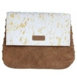 Mable white & gold cowhide & suede crossbody 11x9""