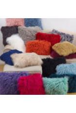 """Black mongolian fur pillow 12x20"""" 3564.bk1220b"""