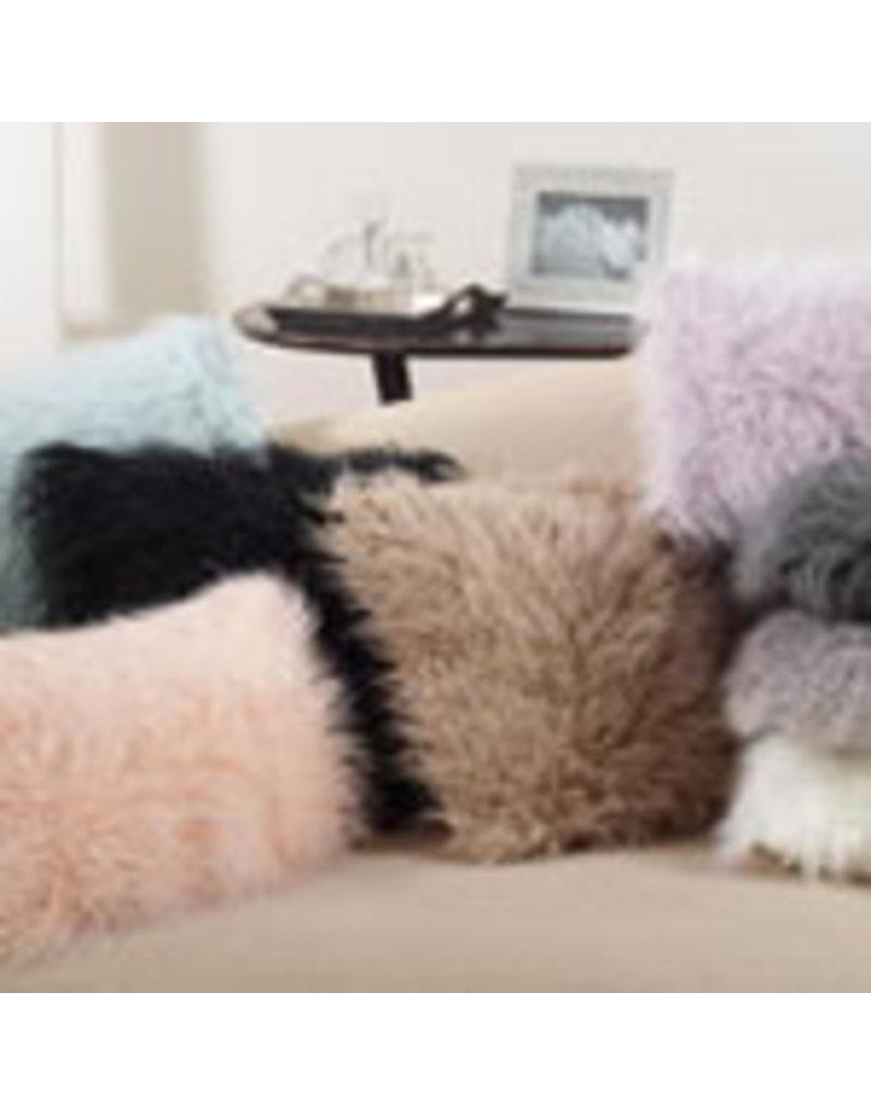 "fog faux mongolian fur pillow 18"" square 706.fg18s"