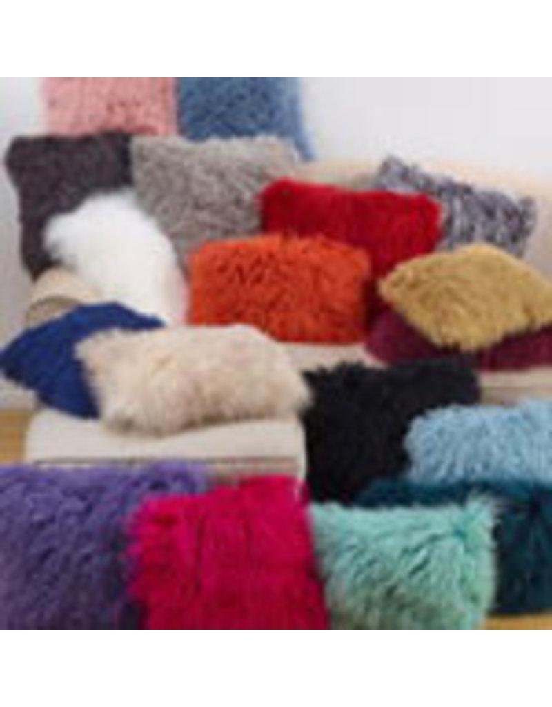 Charcoal mongolian lamb fur pillow 3564.ck16s