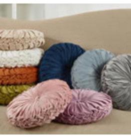 "none Round velvet Natural pintucked pillow 14"" 6005.n14r"