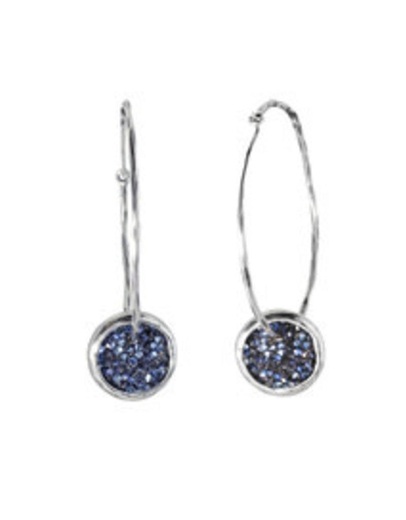WAXING POETIC Kristal Satellite Hoop Earrings-SS, Swarovski Crystals KRIS11SS-HOOP