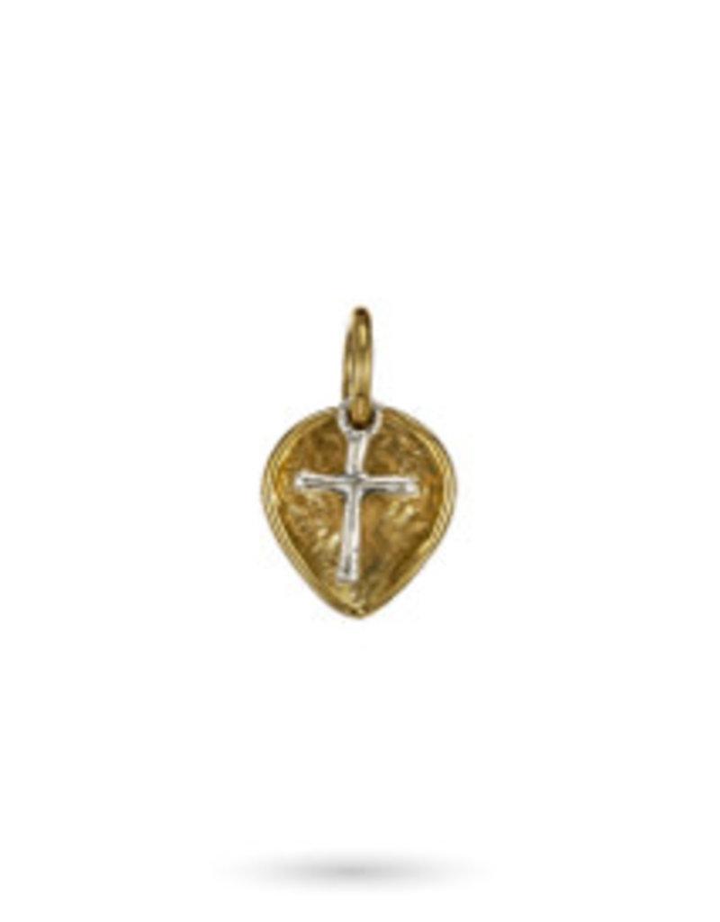 WAXING POETIC Lotus cross charm brass & sterling lot-2-ms