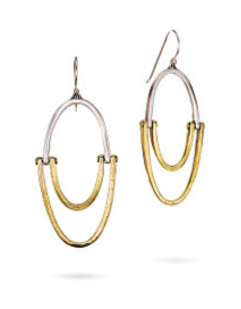 WAXING POETIC Sister Hoop Earrings-Sterling Silver & Brass SIS-11-MS