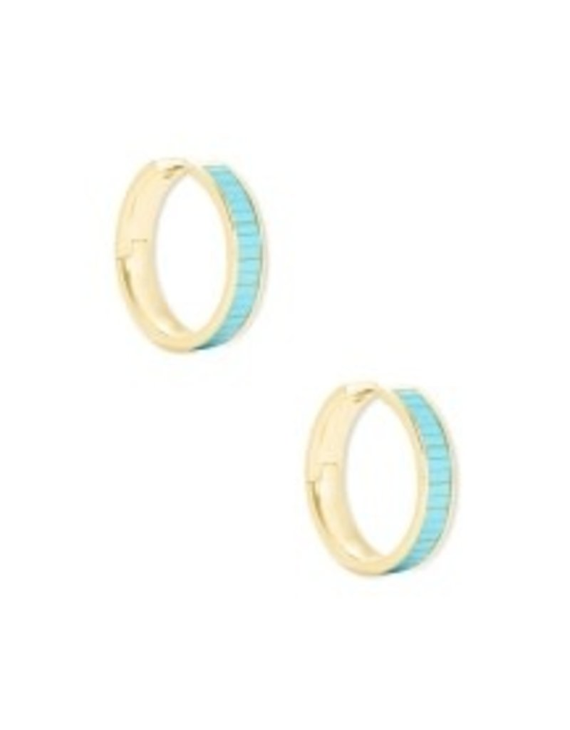 KENDRA SCOTT Jack huggie gold turquoise earrings 4217718247