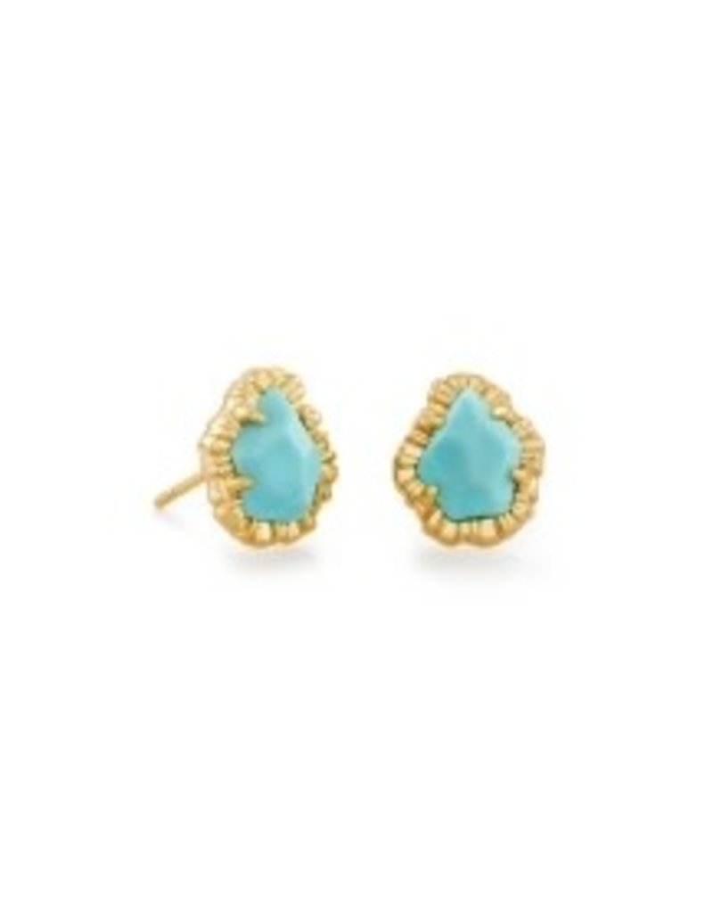 KENDRA SCOTT Tessa small stud earrings gold turquose  842177182130