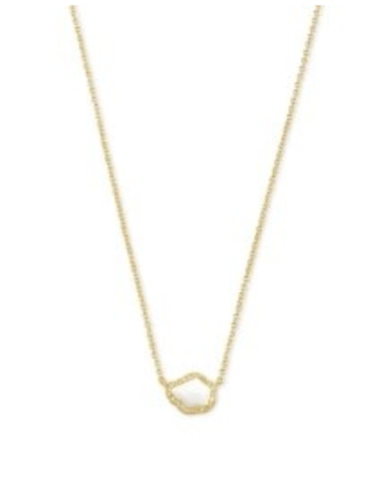 KENDRA SCOTT Tessa small sort pendant necklace  gold white mussel 842177182215