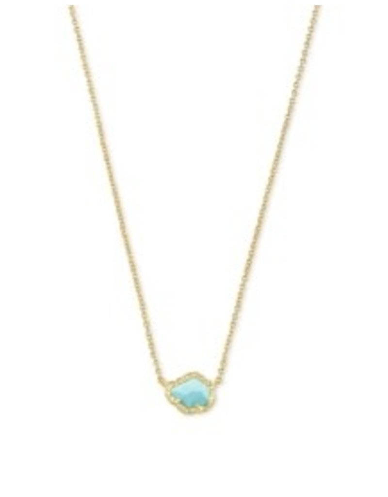 KENDRA SCOTT Tessa small short gold turquoise necklace 842177182239