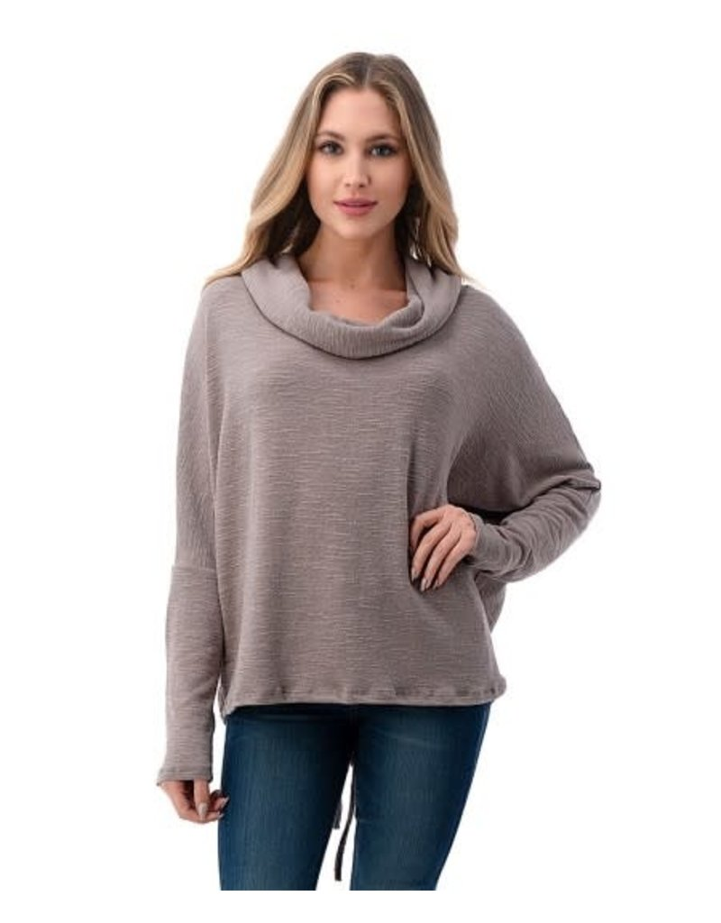 Lace Up Taupe Back Cowl Neck Sweater T928-K406