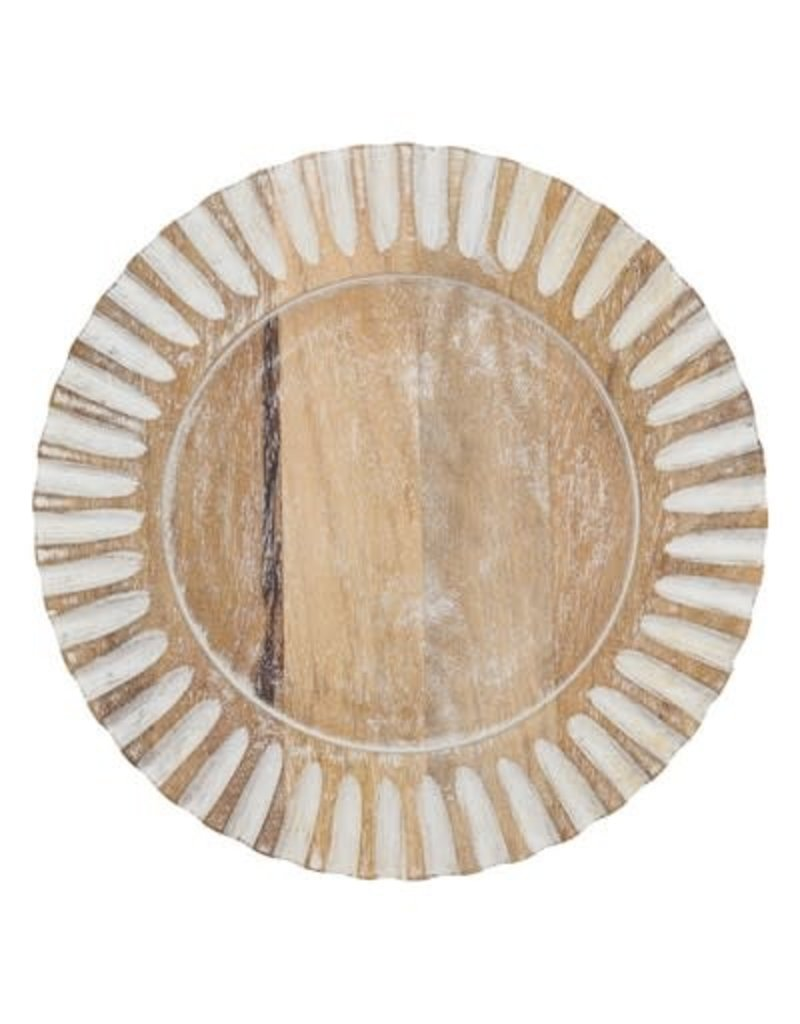 """13"""" mango ibbed wooden charger ch213.n13r"""