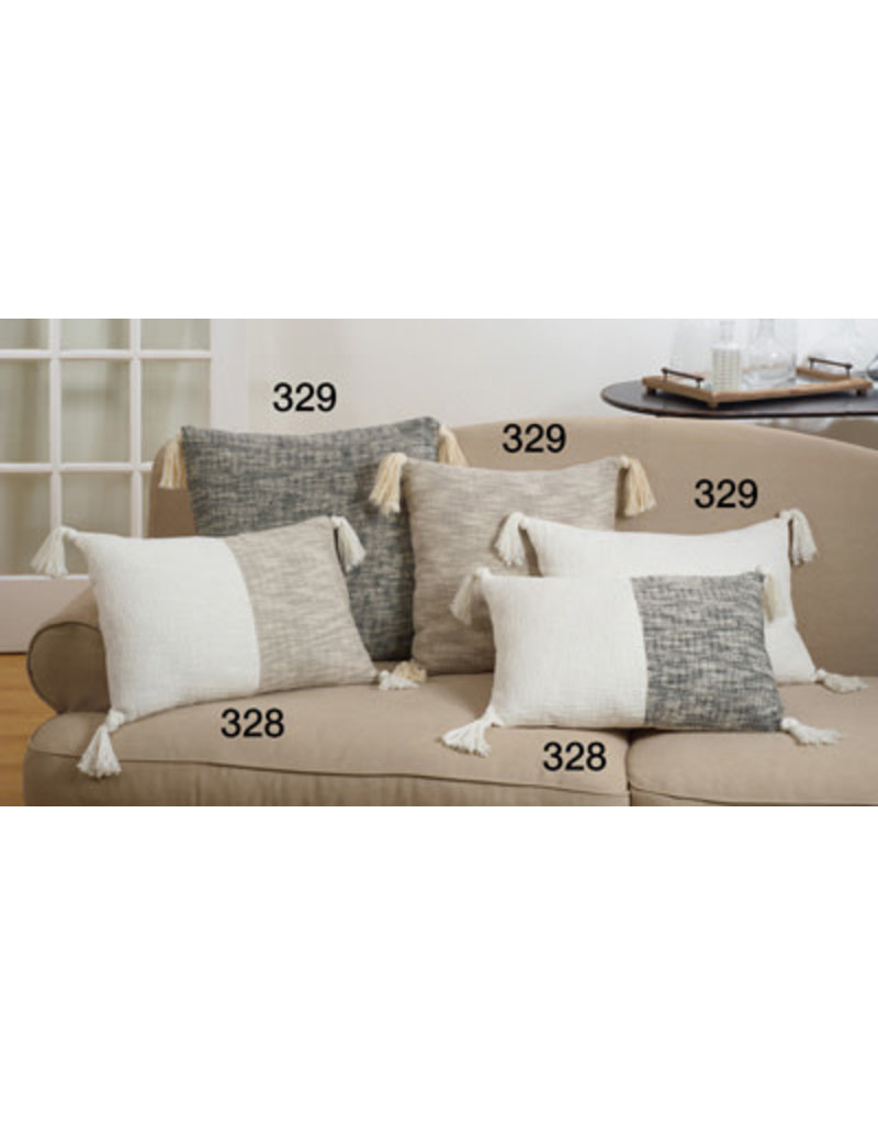 """cream tasseled pillow down filled 20"""" square 329.120s"""