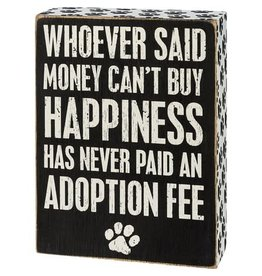 Adoption fee box sign 110211