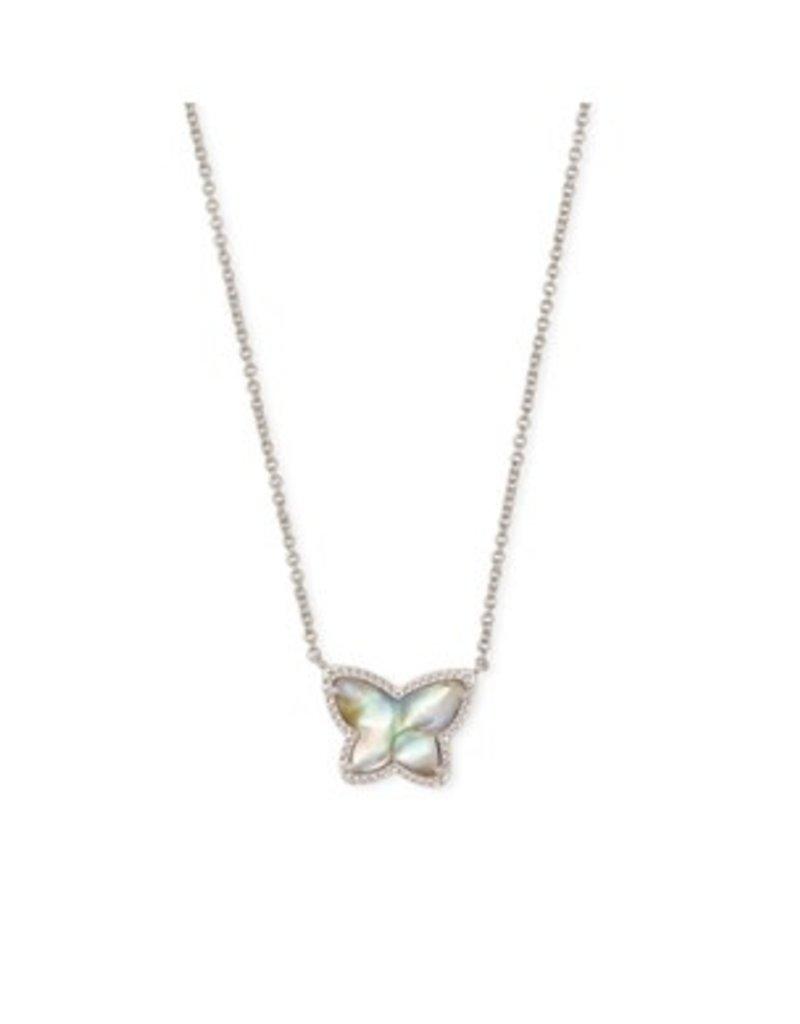 KENDRA SCOTT Lillia butterfly pendant necklace rhod irr abalone 4217719072