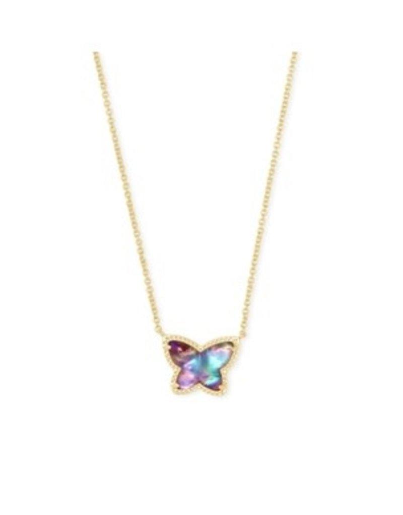 KENDRA SCOTT Lillia butterfly pendant necklace gold lilac abalone