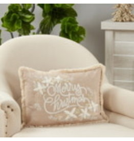 """SARO Embroidered Merry Christmas Pillow 14""""x20"""" Oblong 2170"""