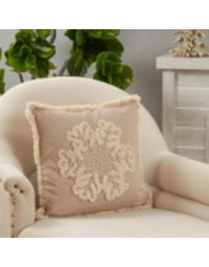 """SARO Embroidered Snowflake Pillow 18"""" Square 2173"""
