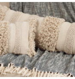 "SARO Fringe Stripe Pillow 12""x40"" Oblong 5812"