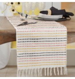 """SARO Woven Stripe Multi Colored Runner  16""""x72"""""""