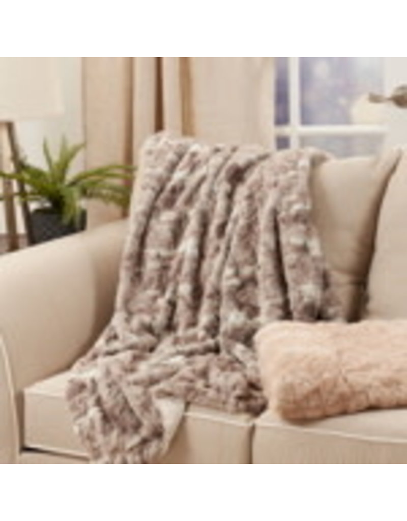 "SARO Grey Faux Mink Fur Throw 50""x60"" TH335"