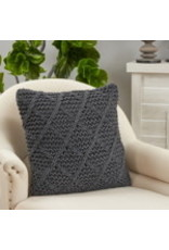 """SARO Kintted Pillow - Poly Filled Natural 20"""" sqaure 3576"""