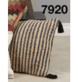 "SARO Striped Tassel Pillow (black) 20"" Sqaure 7920"