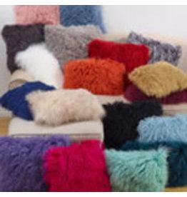 "SARO Mongolian Lamb Fur Pillow (black) 20"" 3564"