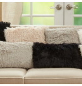 SARO Classic Faux Fur Pillow (black) 1601