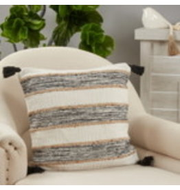 "SARO Striped Tassel Pillow (black/white) 20"" square 5285"