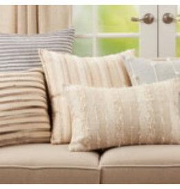 "SARO Woven Stripe Pillow (natural) 16""x24"" oblong 7932.N1624BP"
