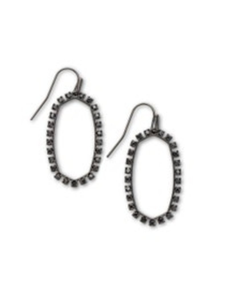KENDRA SCOTT Elle open frame earring gunmetal black spinel