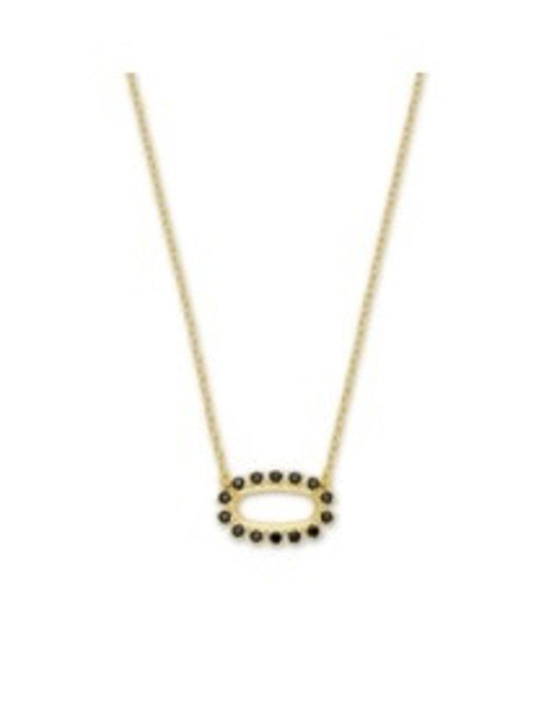 KENDRA SCOTT Elisa open frame black necklace old black spinel