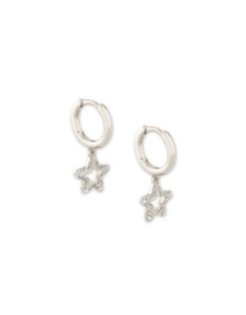 KENDRA SCOTT Jae star crystal huggie earring rhod white