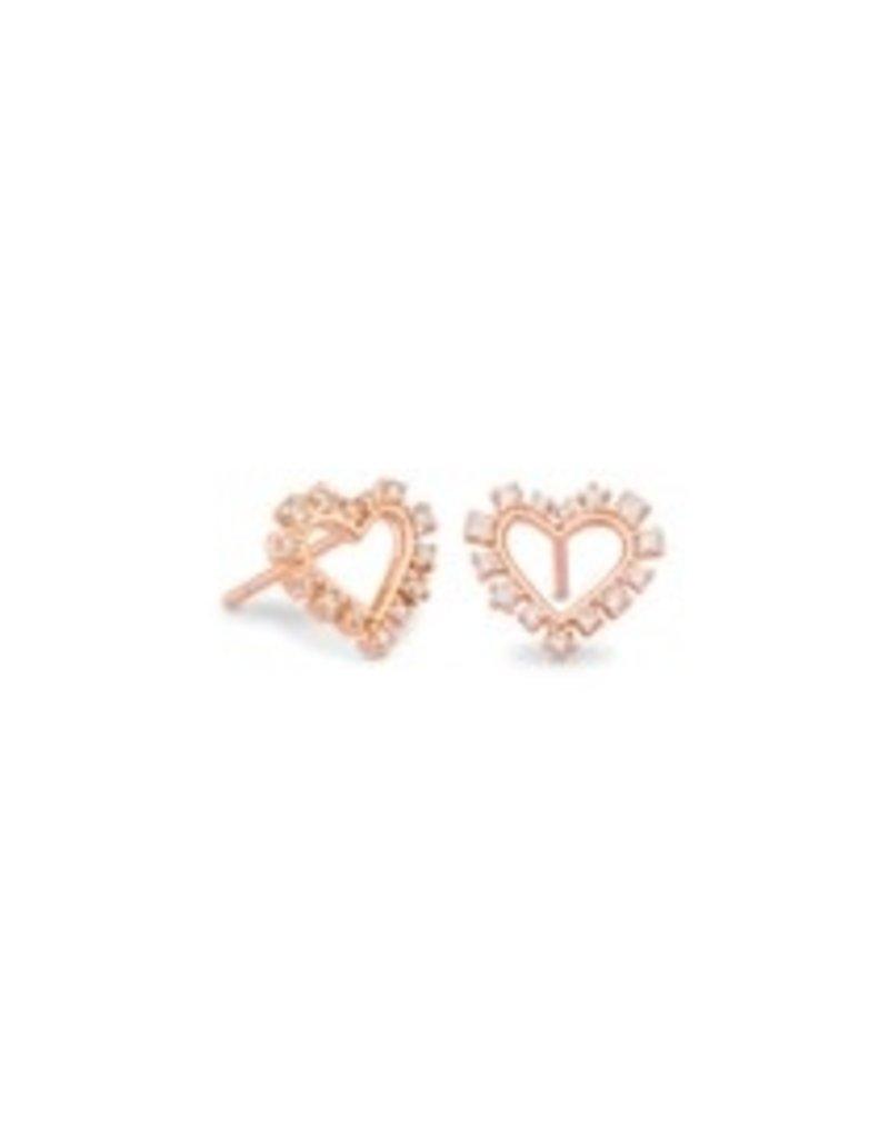 KENDRA SCOTT Ari heart crystal pendant stud earrings rose gold