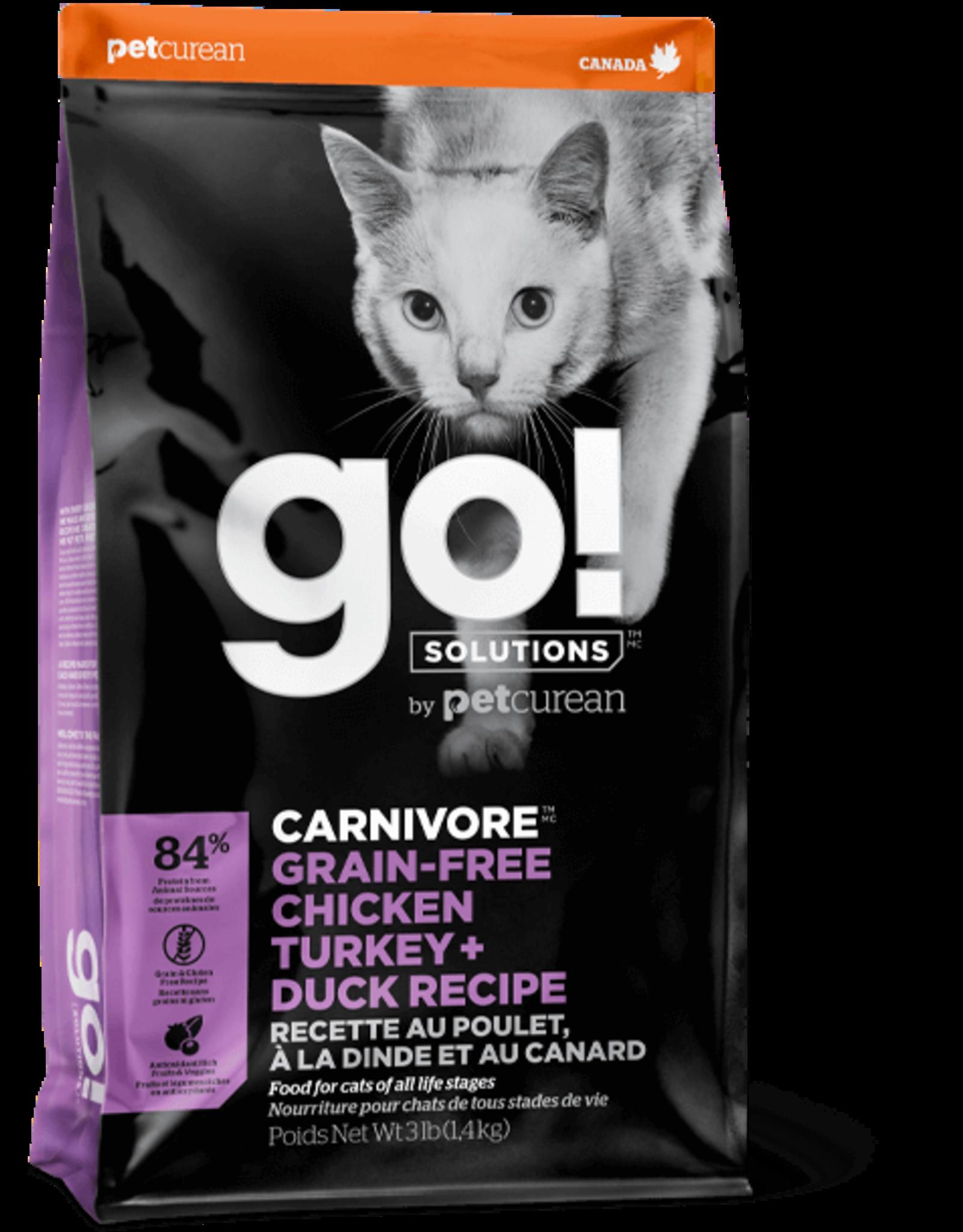 Petcurean GO: cat Carnivore Chicken Turkey Duck 3lb