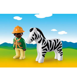 Playmobil 1.2.3 Ranger with Zebra