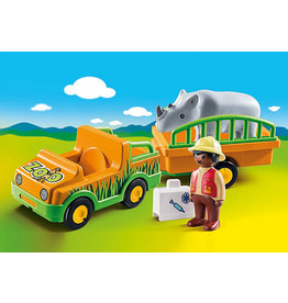 Playmobil 1.2.3 Zoo Vehicle with Rhino