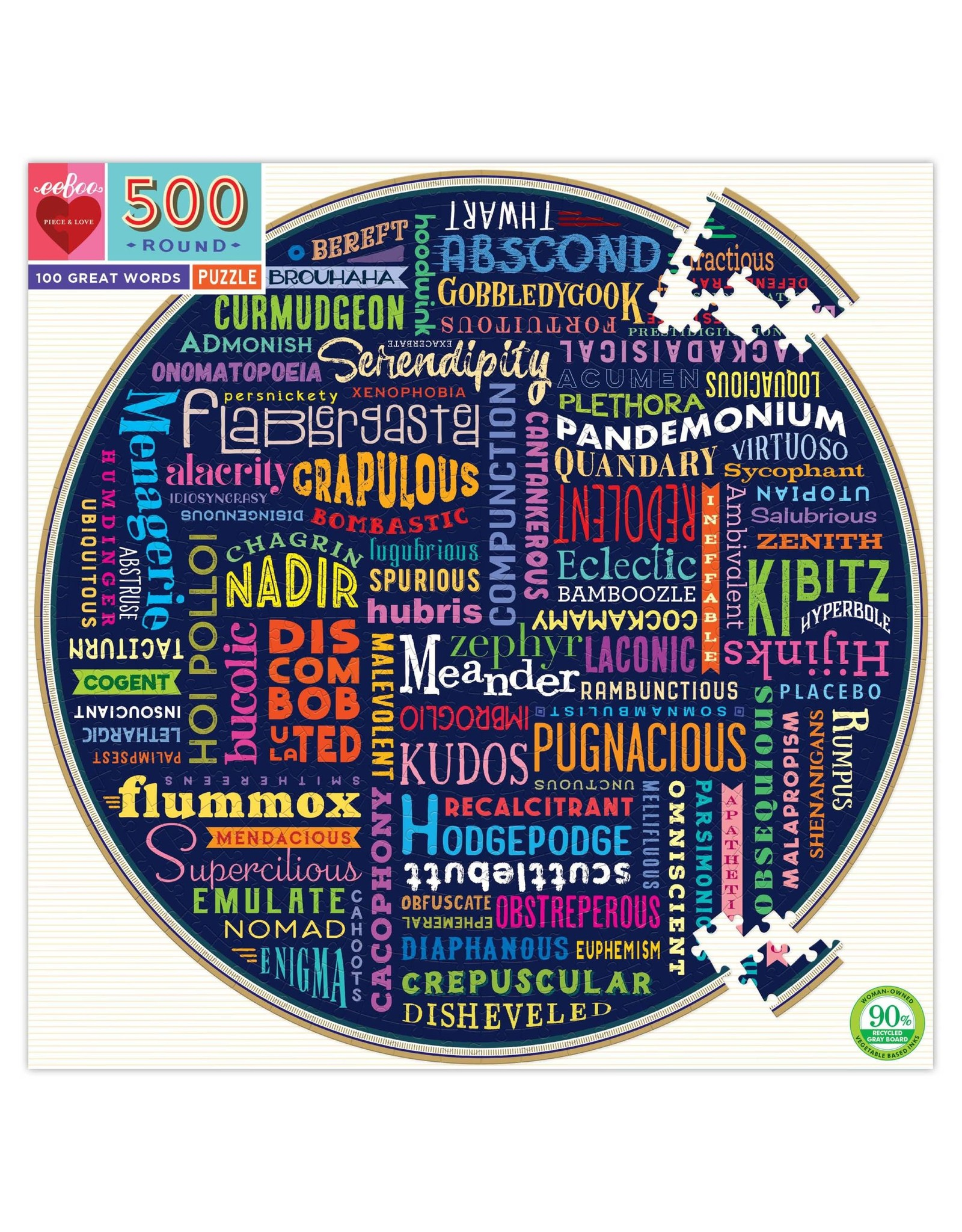 Eeboo 500 pcs. 100 Great Words Round Puzzle