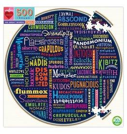 Eeboo 100 Great Words Round Puzzle, 500 pc