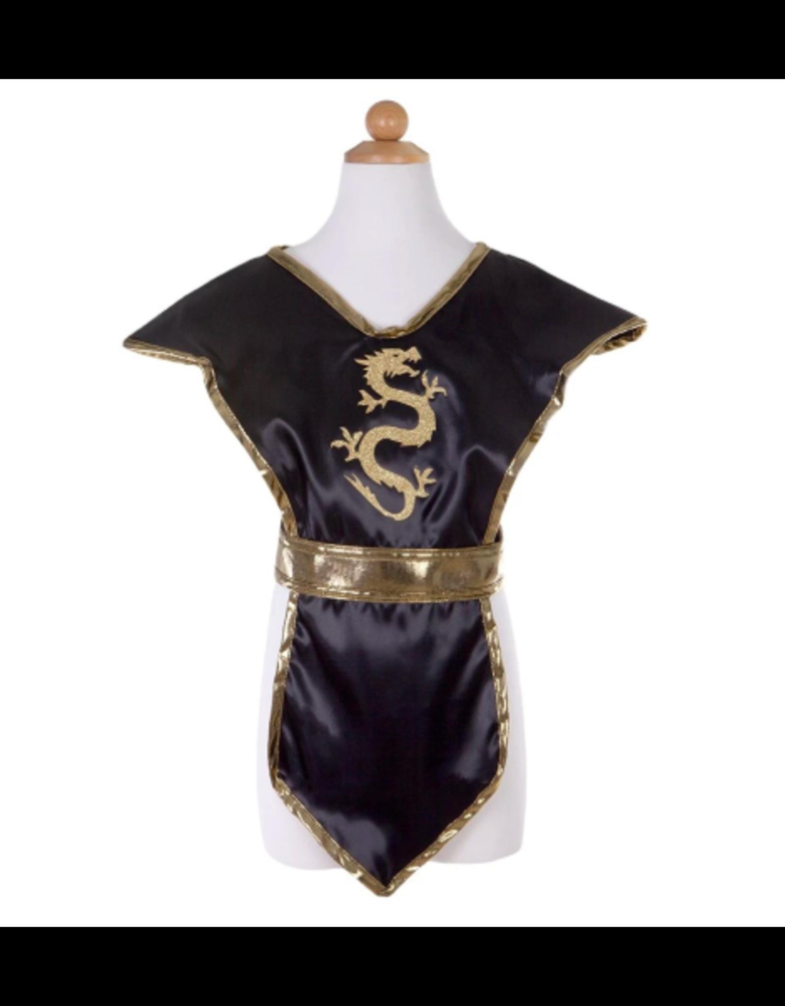 Great Pretenders Ninja Tunic Black & Gold, Size 5-6