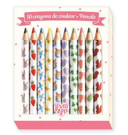 Djeco 10 Mini Coloured Pencils, Aiko