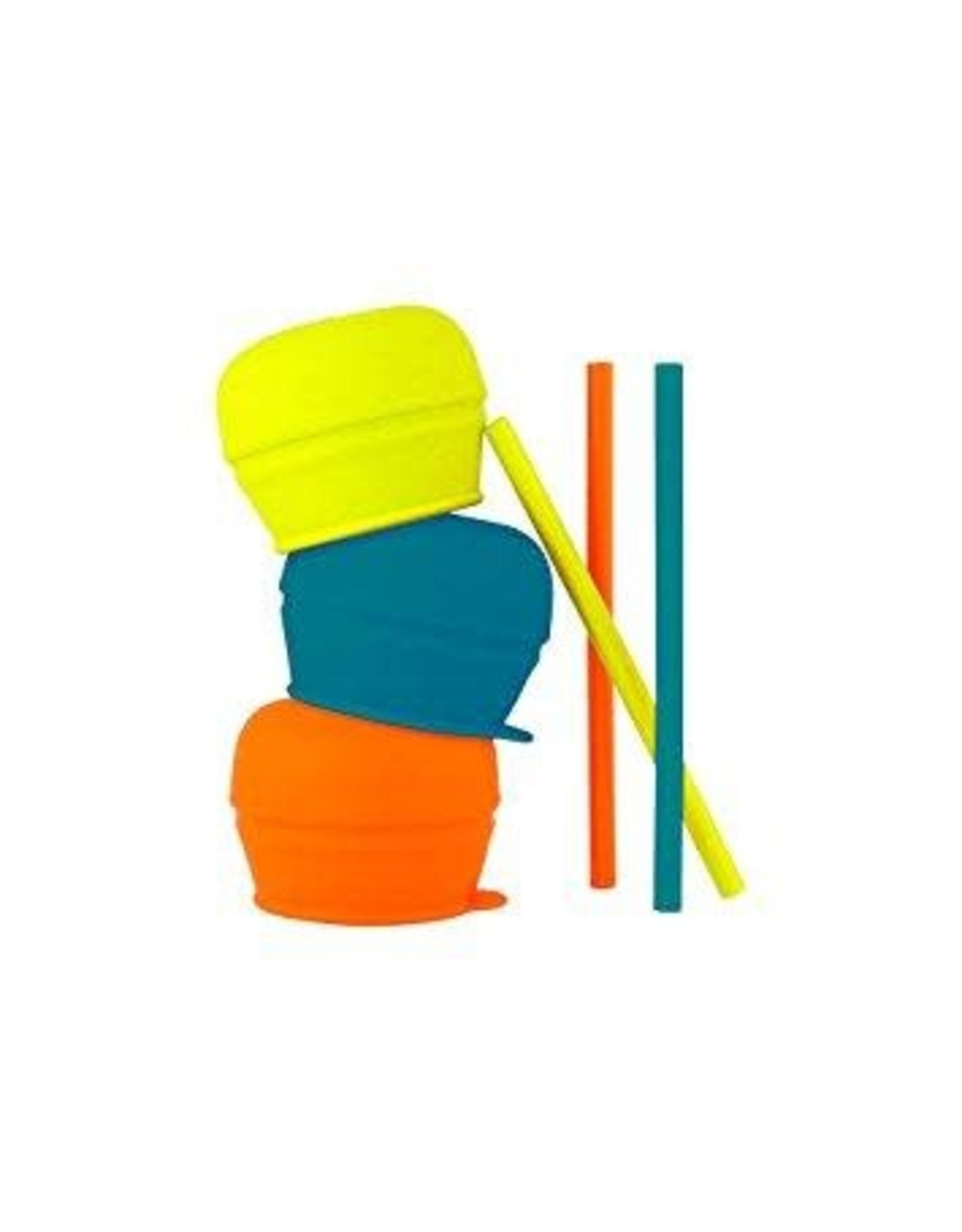 Boon Snug Straw 3 Pack with Lids, Blue/Orange/Green