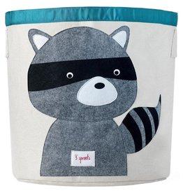3 Sprouts Storage Bin, Gray Raccoon