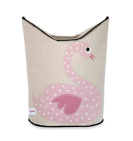 3 Sprouts Laundry Hamper, Pink Swan