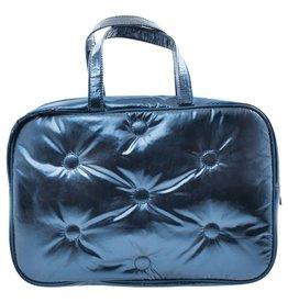 Iscream Cosmetic Bag, Blue Metallic Tufted, Large