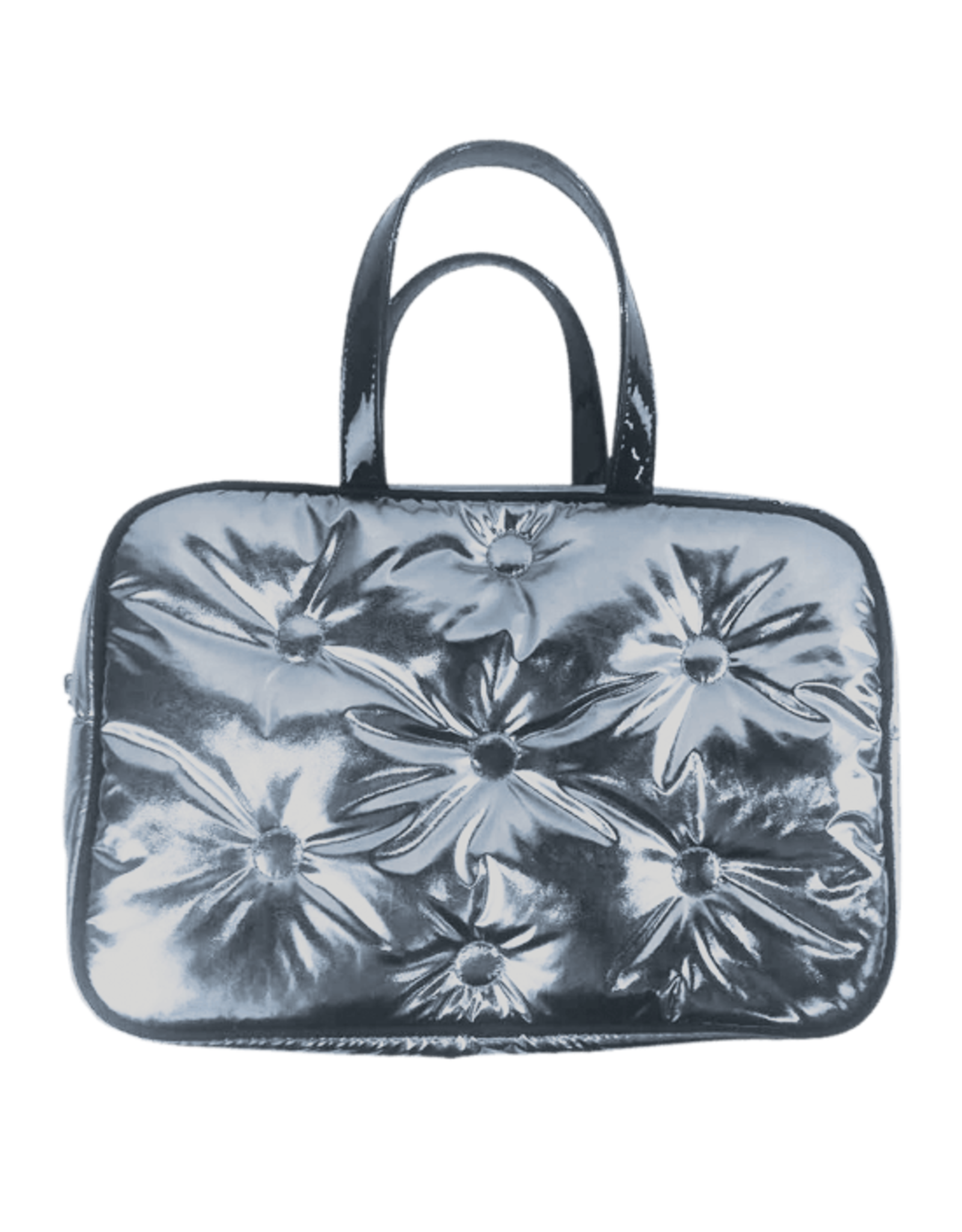 Iscream Cosmetic Bag, Chrome Metallic Tufted, Large