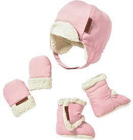 JJ Cole Bomber Hat Set, Blush Pink