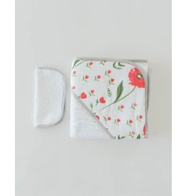 Little Unicorn, LLC Cotton Hooded Towel & Wash Cloth Set, Summer Poppy