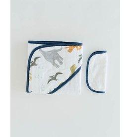 Little Unicorn, LLC Cotton Hooded Towel & Wash Cloth Set, Dino Friends